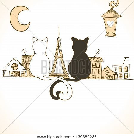 Cat card can be used for holiday cards, wedding invitation, postcard or website banner. Sitting cats bright invitation. Love design. Valentine concept.