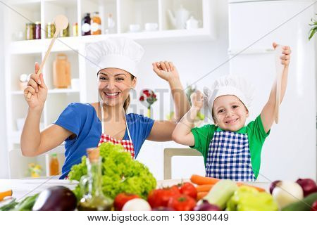 Smiling Happy Beautiful Family Ready For Cook