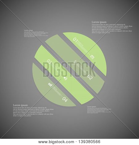 Circle Illustration Template Consists Of Four Green Parts On Dark Background