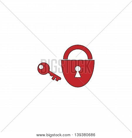 Padlock and key. Red flat simple modern illustration icon with stroke. Collection concept vector pictogram for infographic project and logo