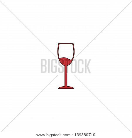 Simple Wine glass - Alcohol drink. Red flat simple modern illustration icon with stroke. Collection concept vector pictogram for infographic project and logo