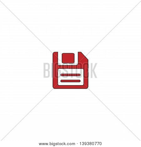 Magnetic floppy disc for computer data storage. Red flat simple modern illustration icon with stroke. Collection concept vector pictogram for infographic project and logo