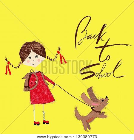 Boy with the school bag plays with a puppy. Handdrawn inspiration. Back to school. Lettering.