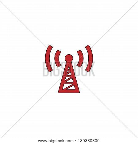 Transmitter. Red flat simple modern illustration icon with stroke. Collection concept vector pictogram for infographic project and logo