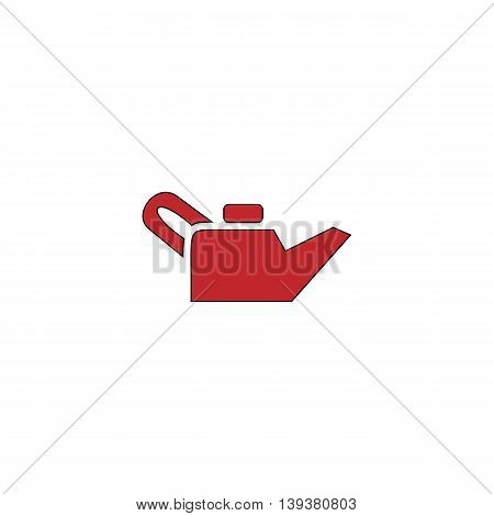 Engine oil. Red flat simple modern illustration icon with stroke. Collection concept vector pictogram for infographic project and logo