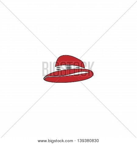Cowboy traditional hat. Red flat simple modern illustration icon with stroke. Collection concept vector pictogram for infographic project and logo