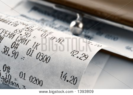 Cash Receipt Illustrating The Spent Money