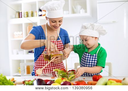 Preparing healthy fresh food for lunch in the kitchen