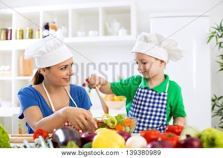 Mom With Kid Making Lettuce