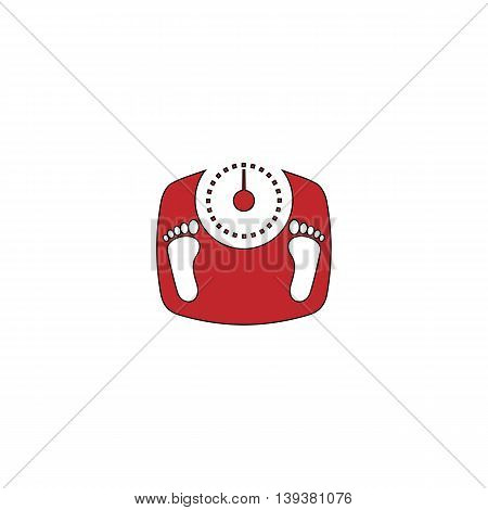 Bathroom scale with footprints. Red flat simple modern illustration icon with stroke. Collection concept vector pictogram for infographic project and logo
