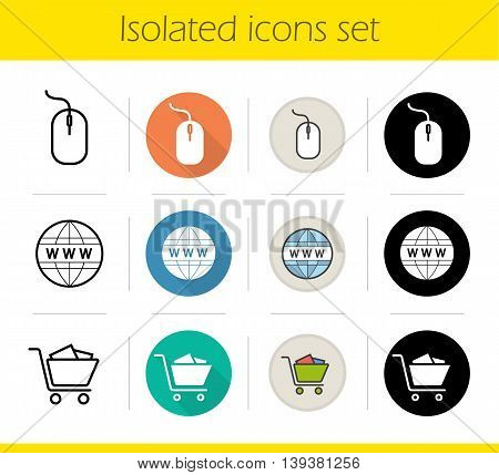 Online shopping icons set. Flat design, linear, black and color styles. Computer mouse, worldwide symbol, shopping cart. E-commerce isolated vector illustrations
