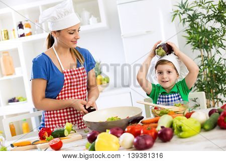 Family cooking time healthy food funny time