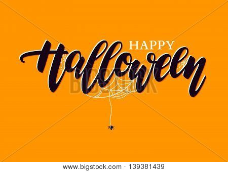 Happy Halloween vector lettering. Holiday calligraphy with spider and web for banner poster greeting card party invitation. Isolated illustration.
