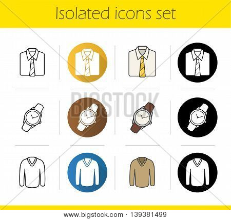 Men's accessories and clothes icons set. Flat design, linear, black and color styles. Shirt and tie, wristwatch and pullover isolated vector illustrations
