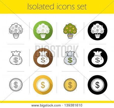Banking and finance icons icons set. Flat design, linear, black and color styles. Money tree and bag, dollar coin isolated vector illustrations