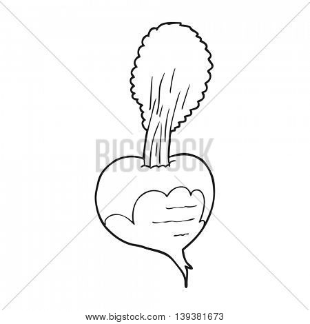 freehand drawn black and white cartoon beetroot