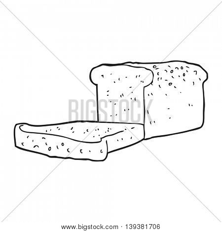 freehand drawn black and white cartoon loaf of bread