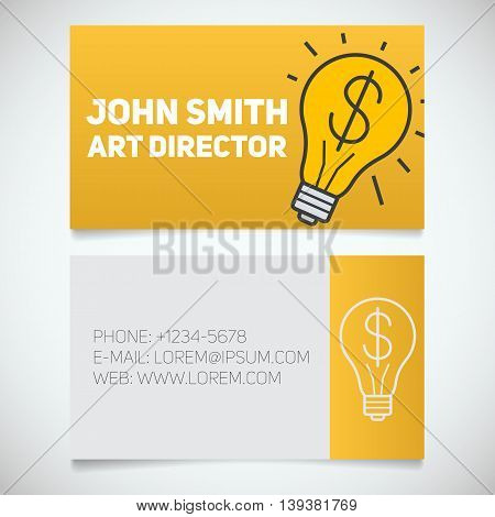 Business card print template with startup logo. Creative director. Electric bulb. Stationery design concept. Vector illustration