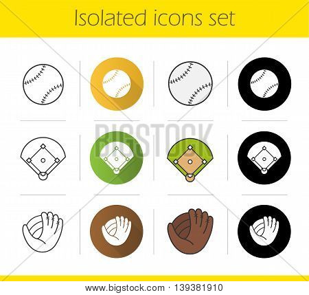 Baseball equipment icons set. Flat design, linear, black and color styles. Softball field, ball and mitt. Isolated vector illustrations