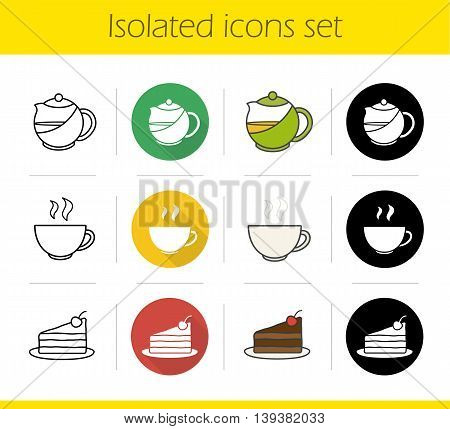 Tea icons set. Flat design, linear, black and color styles. Piece of chocolate cake on plate, teapot and steaming cup isolated vector illustrations
