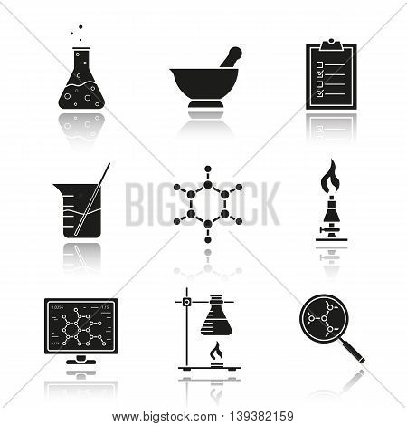 Chemical laboratory equipment drop shadow black icons set. Beaker with rod, chemical reaction and test checklist. Molecule structure and lab burner. Chemistry lab tools isolated vector illustrations