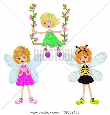 Isolated girl on a swing and two girls with fairy wings on white, vector illustration