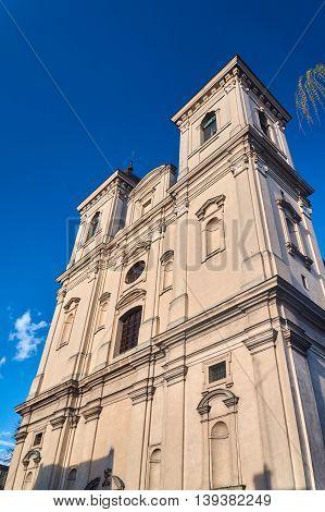 Baroque facade of the parish church of St. Nicholas in Leszno