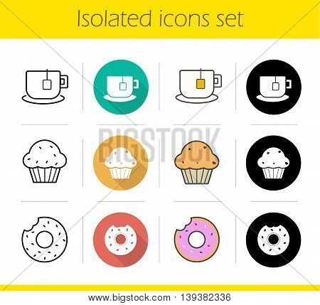 Tea icons set. Flat design, linear, black and color styles. Glazed doughnut, muffin with raisins, cup with teabag label on plate. Cafe menu items isolated vector illustrations