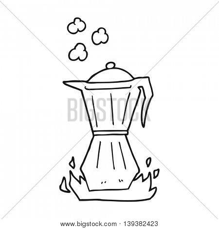 freehand drawn black and white cartoon stovetop espresso maker