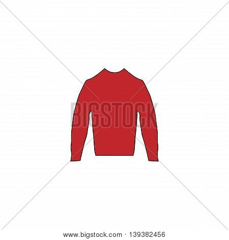 Clothing sweater Pictogram. Red flat simple modern illustration icon with stroke. Collection concept vector pictogram for infographic project and logo