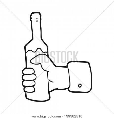 freehand drawn black and white cartoon hand holding bottle of wine