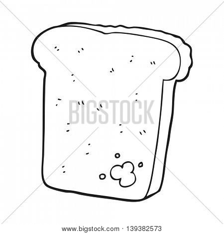 freehand drawn black and white cartoon mouldy bread