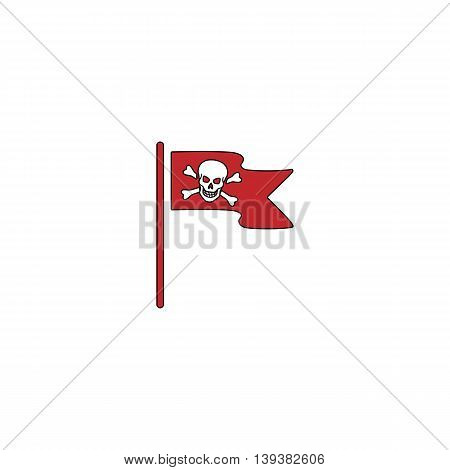 Jolly Roger or Skull and Cross bones Pirate flag. Red flat simple modern illustration icon with stroke. Collection concept vector pictogram for infographic project and logo