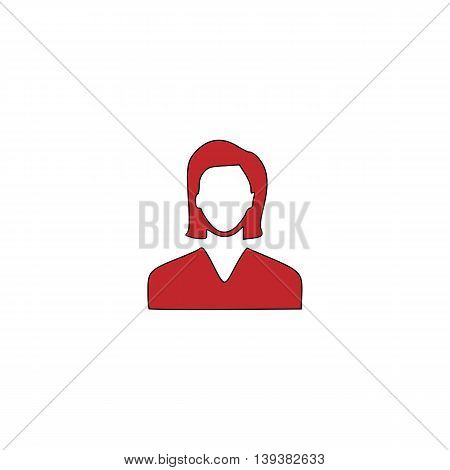 Woman avatar profile picture. Red flat simple modern illustration icon with stroke. Collection concept vector pictogram for infographic project and logo