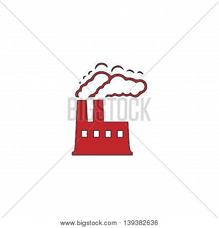 INDUSTRY. Red flat simple modern illustration icon with stroke. Collection concept vector pictogram for infographic project and logo