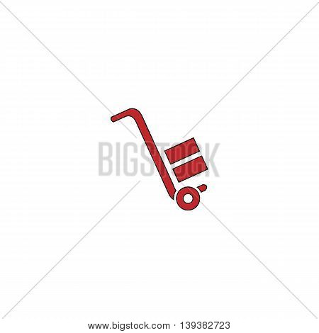 Manual loader. Red flat simple modern illustration icon with stroke. Collection concept vector pictogram for infographic project and logo
