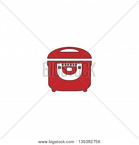 Electric Cooker. Red flat simple modern illustration icon with stroke. Collection concept vector pictogram for infographic project and logo