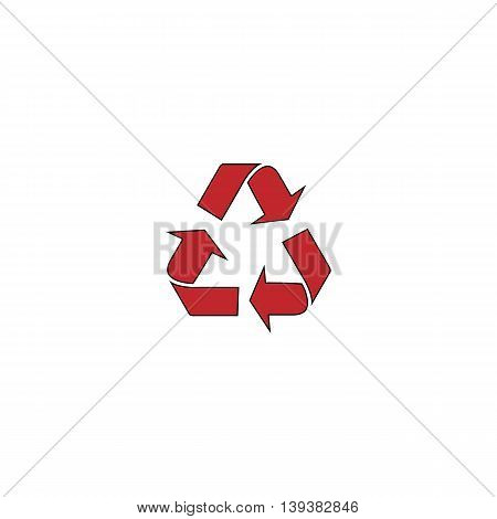 Simple Recycling. Red flat simple modern illustration icon with stroke. Collection concept vector pictogram for infographic project and logo