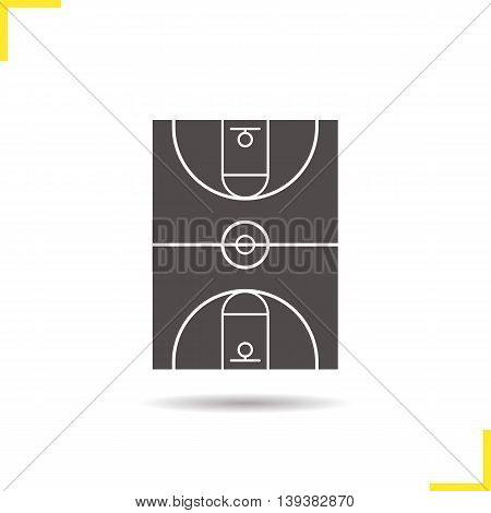 Basketball field icon. Negative space. Drop shadow silhouette symbol. Vector isolated illustration
