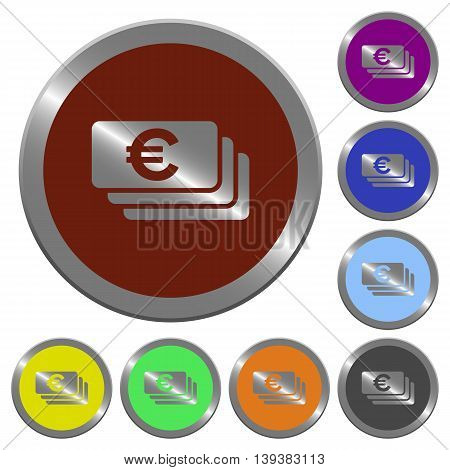 Set of color glossy coin-like Euro banknotes buttons.
