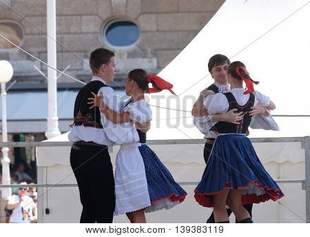 ZAGREB, CROATIA - JULY 21: Members of folk group Skalican from Skalica, Slovakia during the 50th International Folklore Festival in center of Zagreb, Croatia on July 21, 2016