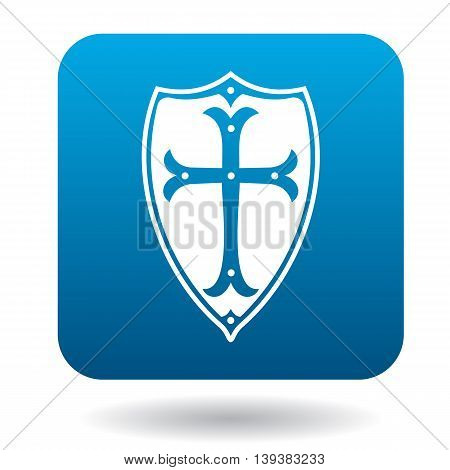 Combat shield icon in simple style in blue square. Protection symbol