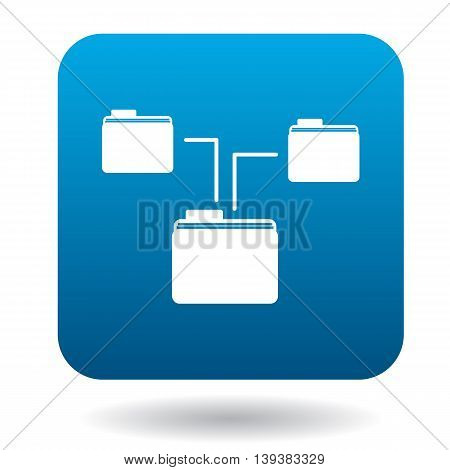 Folders on computer icon in simple style in blue square. Storing symbol