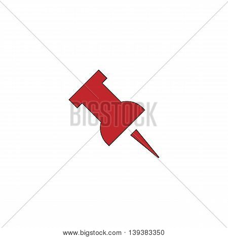 Simple Push pin. Red flat simple modern illustration icon with stroke. Collection concept vector pictogram for infographic project and logo