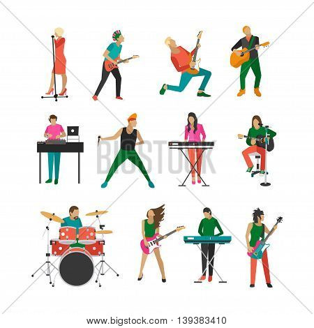 Vector set of rock musicians and singers. Music rock band design elements and icons isolated on white background. People characters.