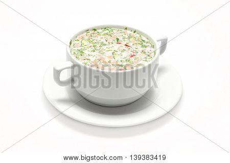 hash soup of radish cucumber white meat piala