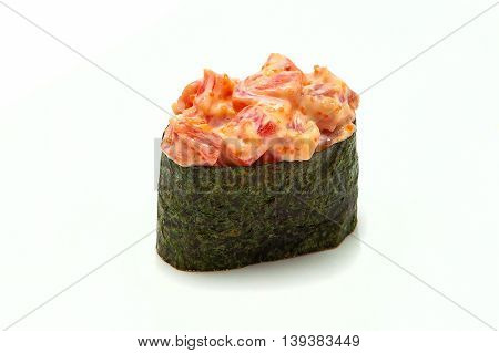 sushi Gunkan maki with tuna Japanese mayonnaise kim chi tobiko