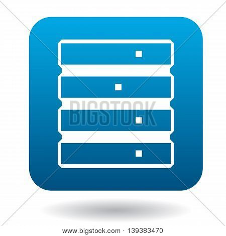 Data storage icon in simple style in blue square. Work with files symbol