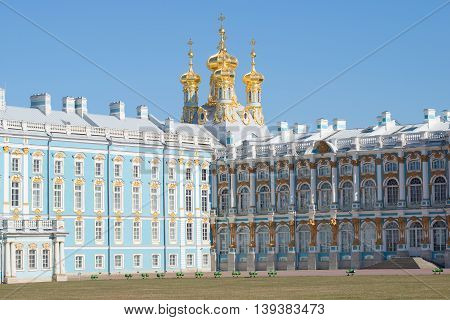 SAINT PETERSBURG, RUSSIA - APRIL 11, 2015: View on the domes of the resurrection Church of the Catherine Palace, sunny april day. The main landmark of the city Tsarskoye Selo