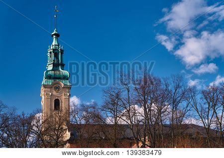 The church tower of the former Protestant church in Leszno